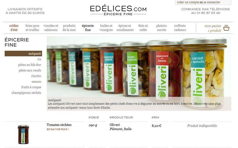 edelices.com, un joli site d'épicerie fine